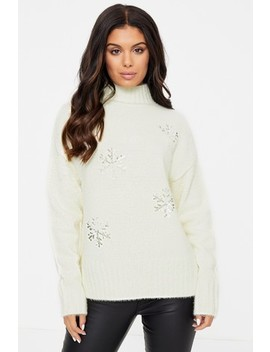 Fashion Union Fluffy Jumper With Beaded Snowflake by Next