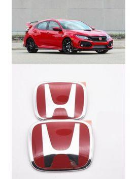Racing Set Red H Emblem Front Rear Fit 2016  2020 Honda Civic Hatchback by G Racing