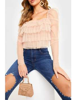 Nude Tulle Frill Puff Sleeve Top by In The Style