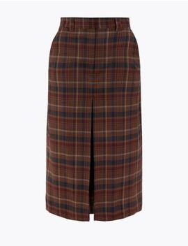 Wool Blend Checked A Line Midi Skirt by Marks & Spencer