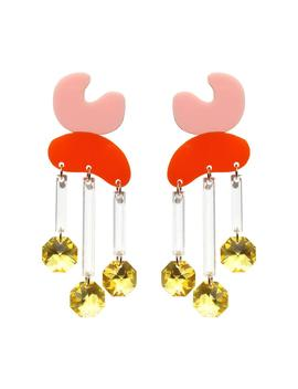 Crystal Rain Earrings Pink/Orange by Melogy Ehsani