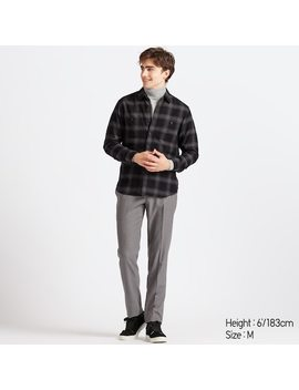Men Flannel Regular Fit Checked Shirt (Regular Collar) (1) by Uniqlo