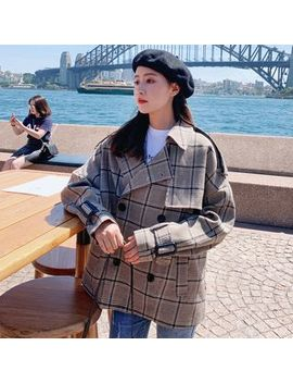 Jinyo   Plaid Double Breasted Trench Jacket by Jinyo