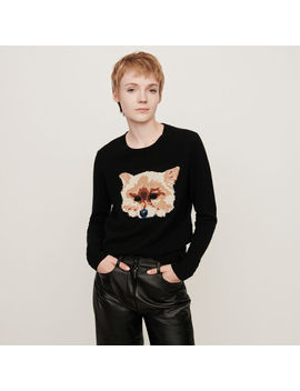 Cashmere Sweater With Dog Head Jacquard by Maje