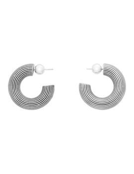 Silver Small Column Hoop Earrings by Sophie Buhai