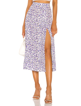 Skatie High Slit Skirt In Purple Leopard by Resa