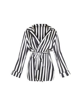 Black And White Satin Piped Robe by Prettylittlething
