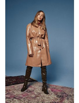 I Know What You Sheen Vinyl Belted Trench Coat by Nasty Gal