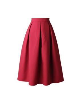 Feitong Women Skirt A Line Street Skirt Full Midi Skirt High Waist Flared Skirt Pleated Solid Color Length Elastic Skirt #W30 by Ali Express.Com