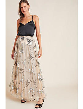 Pleated Tulle Embroidered Maxi Skirt by Geisha Designs