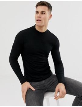 Asos Design   Muscle Fit T Shirt Van Organisch Katoen Met Lange Mouwen En Col In Zwart by Asos Design