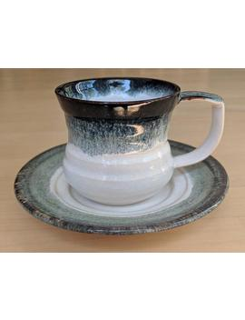 8oz Ceramic Mug, Coffee Cup, Teacup (Saucer Is Included) With Black And White Glazes, Handmade By Jason Hooper Pottery by Etsy
