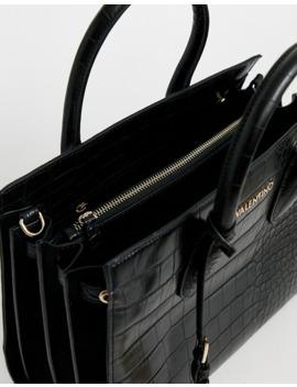 Valentino By Mario Valentino Winter Memento Black Croc Effect Tote Workwear Bag by Valentino's
