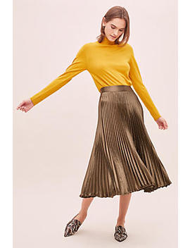 Satin Pleated Midi Skirt by Anthropologie