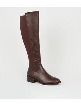 Dark Brown Leather Look Flat Knee High Boots by New Look