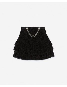 Short Leopard Print Skirt W/Chains & Frills by The Kooples