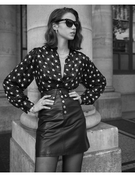 Black Leather Skirt With Fold Over & Buttons by The Kooples