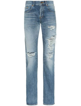 Distressed Slim Fit Jeans by Saint Laurent