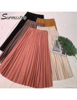 Surmiitro Elegant Solid Midi Pleated Skirt Women 2019 Autumn Winter Ladies Korean High Waist A Line School Long Skirt Female by Ali Express.Com