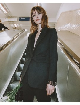 Black Jacket In Wool With Lace Details by The Kooples