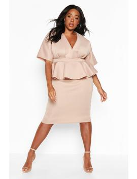 Plus Scuba Plunge Kimono Top & Midi Skirt Co Ord by Boohoo
