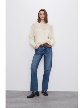 Sweater Combinada Renda by Zara