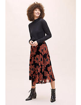 Devore Floral Midi Skirt by Anthropologie