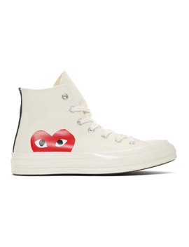 Off White Converse Edition Half Heart Chuck 70 High Sneakers by Comme Des GarÇons Play