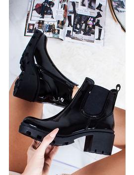 Kristen Black Patent Chelsea Boots by Lavish Luxe