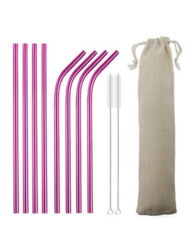 4/8pcs Metal Straw Set Reusable Straw 304 Stainless Steel Drinking Straw With Brush Eco Friendly Pink Straw For Mugs 20/30oz by Ali Express.Com