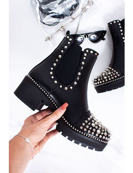 Lola Black Stud Ankle Boots With Silver Stud Detail by Lavish Luxe