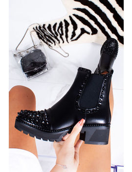 Lola Black Stud Ankle Boots With Black Spike Detail by Lavish Luxe