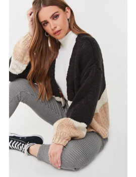 Colorblock Purl Knit Cardigan by Forever 21
