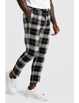 Tartan Cropped Smart Trouser With Chain by Boohoo