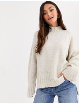 New Look High Neck Drop Hem Jumper In Oatmeal by New Look