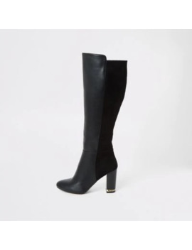 Black Knee High Wide Fit Heeled Boots by River Island