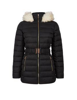 Black Jaquard Short Padded Coat by Dorothy Perkins