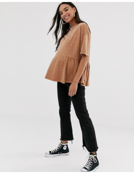 Asos Design Maternity Smock Top With Hem Detail In Wash by Asos Design