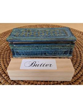 English Style Butter Dish With Honeycomb Lid In Blue And Green Glazes, Handmade By Jason Hooper Pottery by Etsy