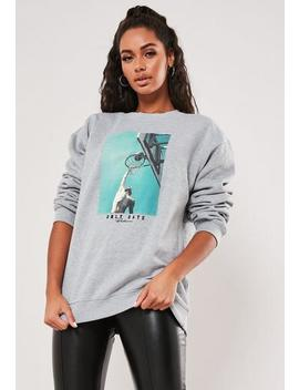 Grey Graphic Print Long Sleeve Sweatshirt by Missguided