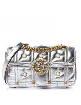 Gucci Metallic Matelasse Pearly Mini Gg Marmont Bag Silver by Gucci