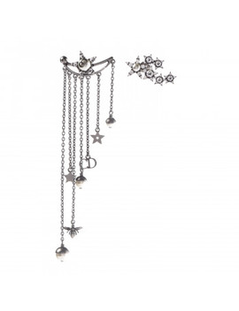 Christian Dior Crystal Pearl Dangle Chain Earrings Silver by Christian Dior