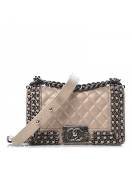 Chanel Glazed Calfskin Quilted Small Boy Chained Flap Beige by Chanel