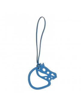 Hermes Swift Paddock Cheval Horse Bag Charm Bleu Zanzibar by Hermes