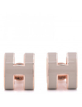Hermes Rose Gold Lacquered Pop H Earrings Marron Glace by Hermes