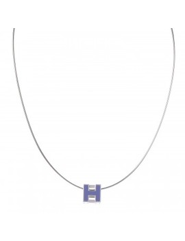 Hermes Palladium Lacquered Cage D'h Pendant Necklace Pervenche by Hermes