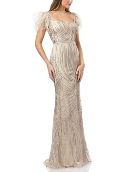 Sequin Belted Mermaid Gown by Carmen Marc Valvo Infusion