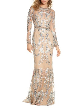 Embellished Long Sleeve Lace Gown by Mac Duggal