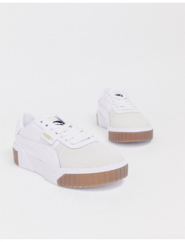 Puma Exotic Cali Sneakers With Gum Sole In White by Puma's