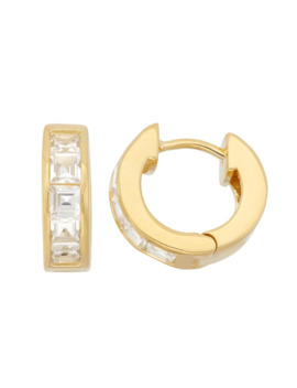 Gold Over Silver Princess Cut White Sapphire Hoop Earrings by Diamante